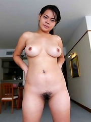 Chubby Thai Wa with beautiful heavy-hangers pleasing white traveler in hotel room